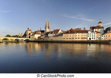 pueblo viejo, regensburg, en, alemania