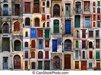 pueblo, viejo, resistido, isla, colección, puertas, crete, ...