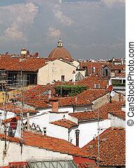 pueblo viejo, techos, terracota, escena, casas, florencia, italiano