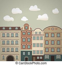 pueblo viejo, vendimia, ilustración