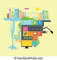 pueblo, y, ciudad, vector, ilustración