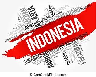 pueblos, indonesia, lista, ciudades