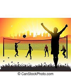 pueblos, juego, en, voleibol, en, naturaleza, verano