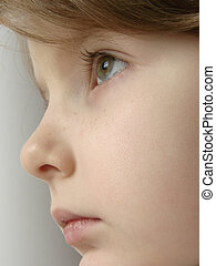 close-up portrait of the girl in a half face