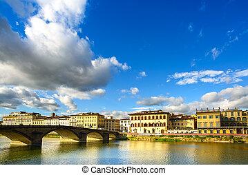puente, 1218, city., construido, alla, ponte, reflexión., italy., él, toscana, río, segundo, carraia, puente, señal, florencia, más viejo, arno, ocaso, paisaje, medieval
