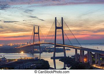 puente, amanecer pintoresco