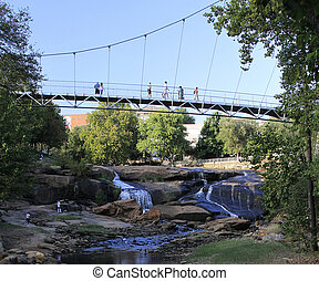 puente, ambulante, gente, acoss, encima, reedy, libertad, fal, río