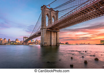 puente, anochecer, brooklyn, york, nuevo, ciudad