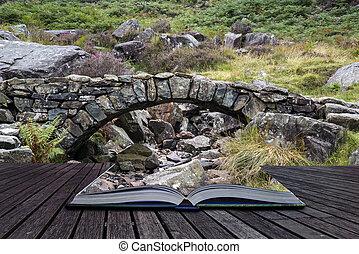 puente, antiguo, viejo, corriente, montaña, encima, otoño, conc, packhorse