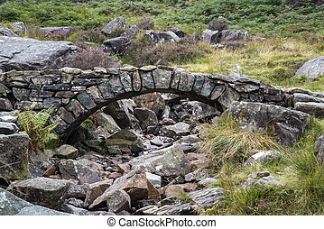 puente, antiguo, viejo, corriente, montaña, encima, otoño, packhorse