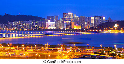 puente, asia., macao, rascacielos, cityscape, macao