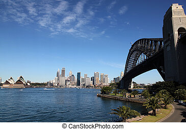puente, australia, kirribilli, -, puerto, sydney, cityscape