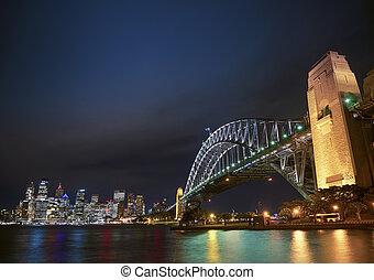 puente, australia, puerto, contorno, sydney, noche