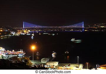 puente, bósforo, estambul, noche