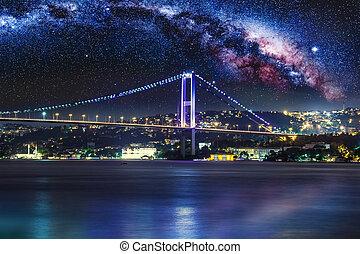 puente, bósforo, noche, estambul