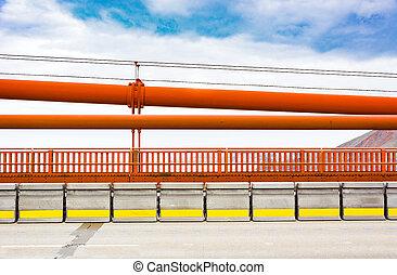 Puente, Barandillas, puerta, dorado