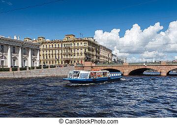 puente, barco, anichkov, plano de fondo, placer