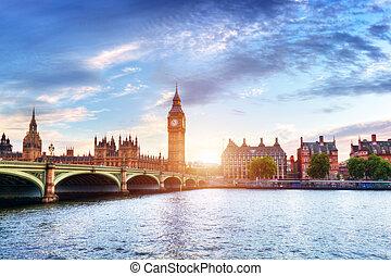 puente, big ben, westminster, thames, reino unido, ocaso, río, londres