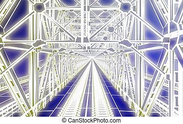 puente, bosquejo, encima, océano