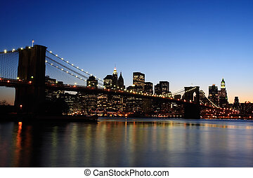 puente, brooklyn, anochecer