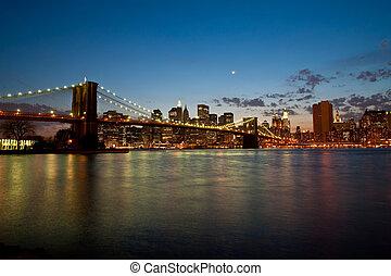 puente, brooklyn, crepúsculo