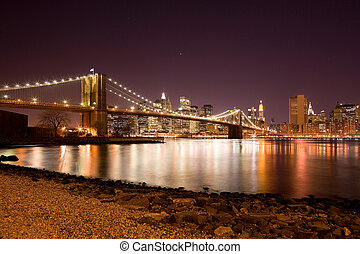 puente, brooklyn, este, encima, río