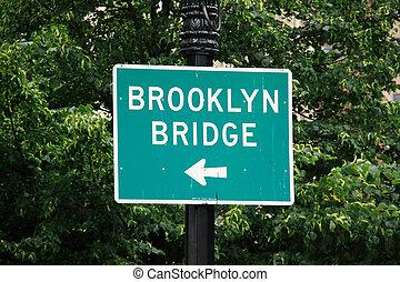 puente, brooklyn, muestra de la calle