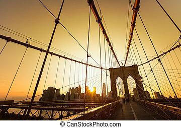 puente, brooklyn, nosotros, contorno, ocaso, manhattan