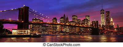 puente, brooklyn, ocaso, manhattan