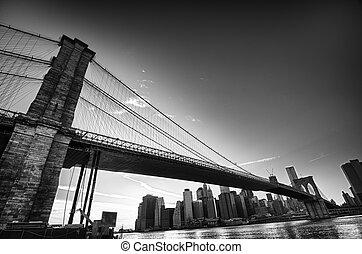 puente, brooklyn, parque, dumbo, vista