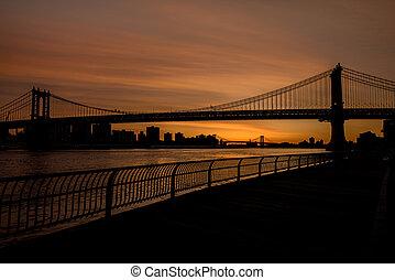 puente, brooklyn, silueta, boardwalk