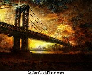 puente, brooklyn, york, nuevo, ciudad