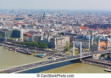 puente, budapest, vuelo, altura, ella/los/las de ave, blanco...