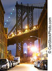 puente, calle, manhattan, vista