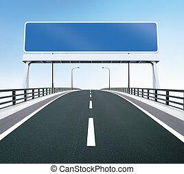 puente, carretera, con, muestra en blanco