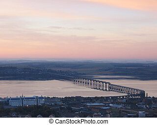 puente, carril, escocia, tay, dundee, amanecer