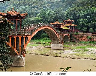 puente, cerca, leshan