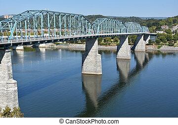 puente, chattanooga, calle, nuez