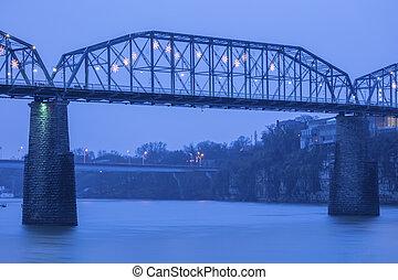 puente, chattanooga, nuez, calle
