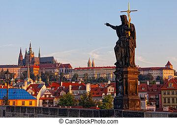 puente, checo, charles, praga, república, escultura