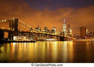 puente, ciudad, anochecer, céntrico, brooklyn, york, nuevo, manhattan