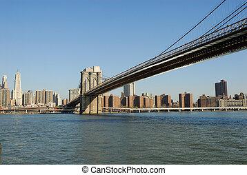 puente, ciudad, encima, río, brooklyn, york, nuevo, este
