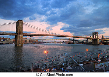 puente, ciudad, panorama, brooklyn, york, nuevo