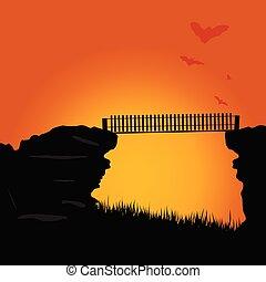 puente, color, ilustración, vector, murciélagos, acantilado