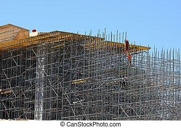 puente, construcción, andamio