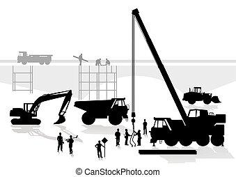 puente, construcción, camino
