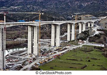puente, construcción, carretera, debajo