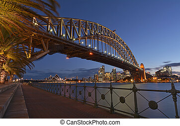 puente, contorno, puerto de sydney, anochecer