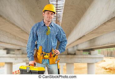 puente, contratista, debajo