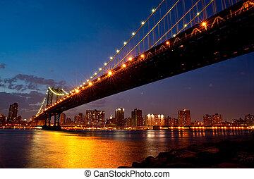 puente, crepúsculo, manhattan